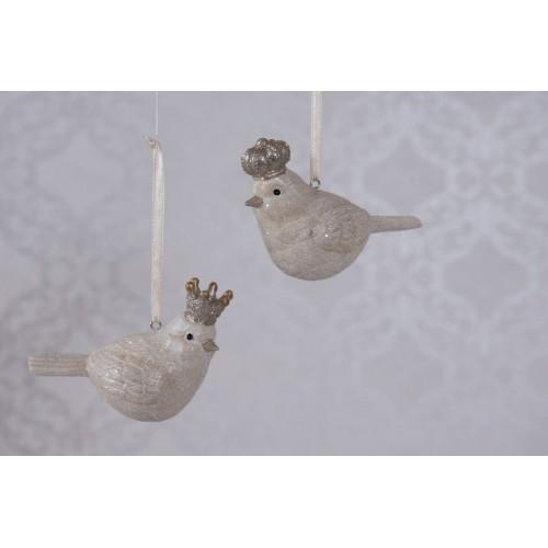 2 stk. juleophæng fugle med kroner