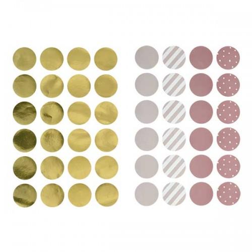Runde wallstickers (pigefarver)