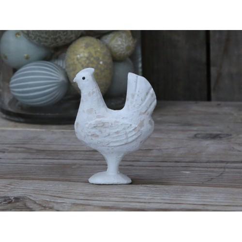 Hvidpatineret høne H: 10 cm.