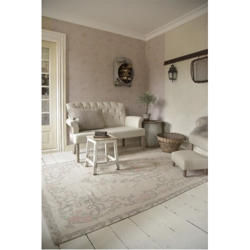 Gulvtæppe grå/rosa 120 x 180 cm.
