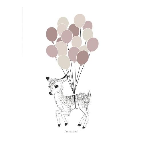 Plakat med bambi og balloner 30 x 40 cm. (rosa)