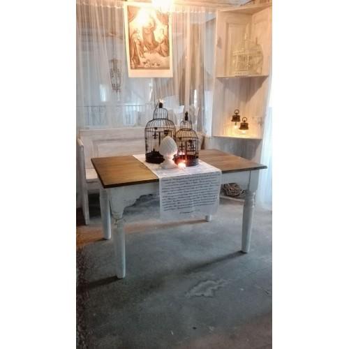Gammelt hvidpatineret bord m/mørk plade og 1 tillægsplade