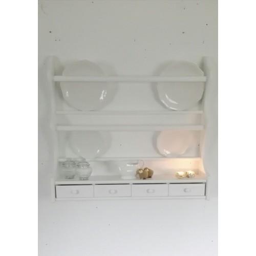 Hvid ny tallerkenrække m/2 rækker+4 skuffer